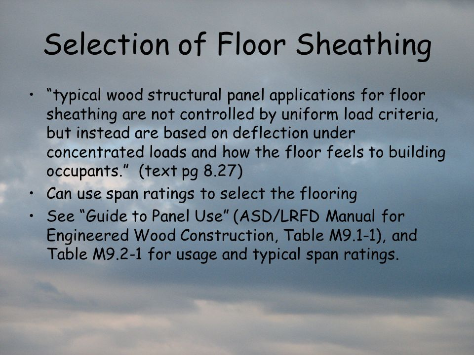 Selection of Floor Sheathing