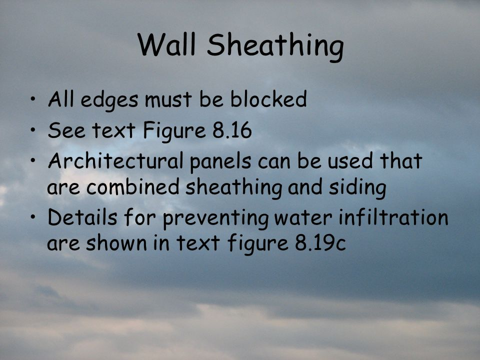Wall Sheathing All edges must be blocked See text Figure 8.16