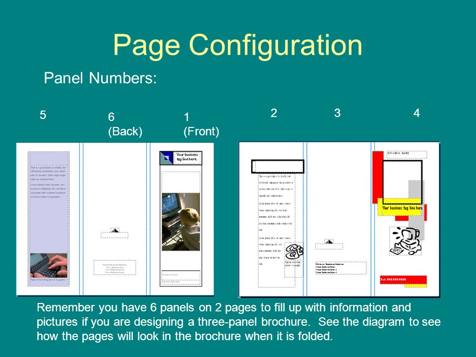 Page Configuration Panel Numbers: (Back) 1 (Front)