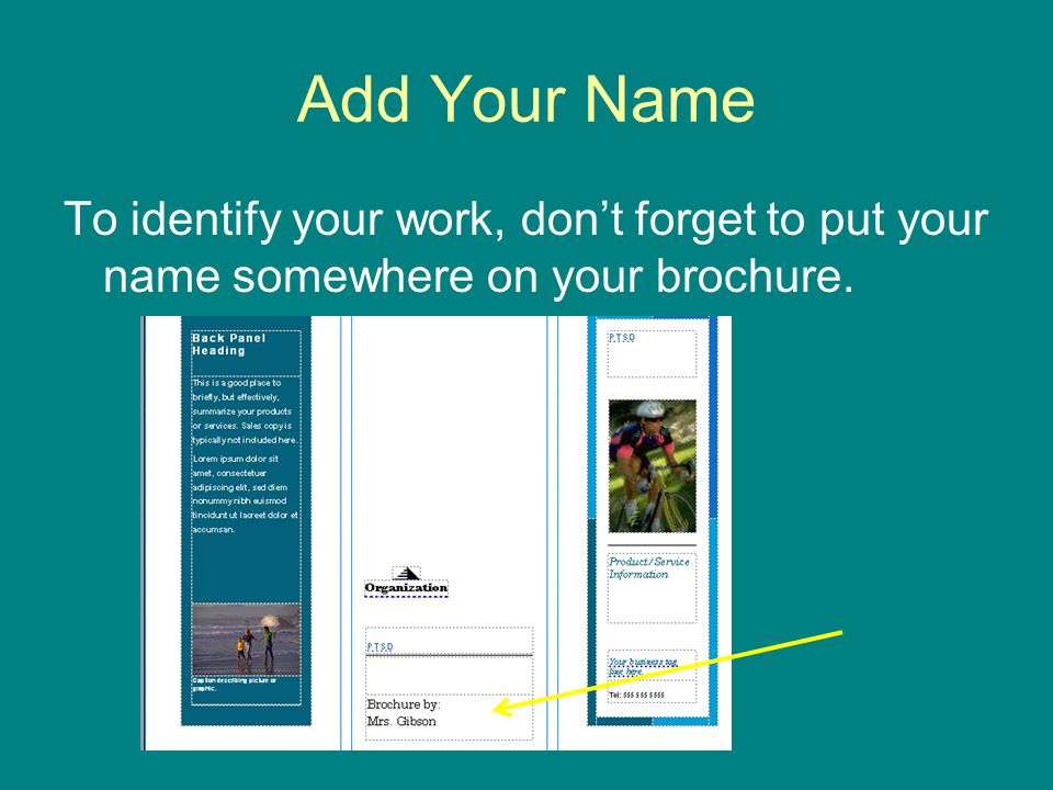 Add Your Name To identify your work, don't forget to put your name somewhere on your brochure.