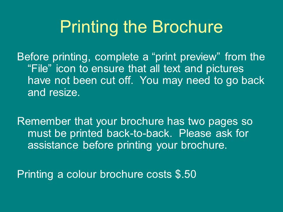 Printing the Brochure