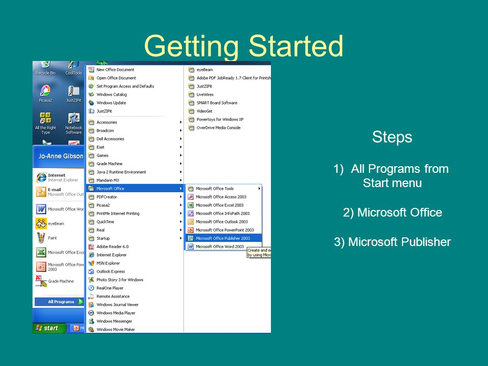 Getting Started Steps All Programs from Start menu 2) Microsoft Office