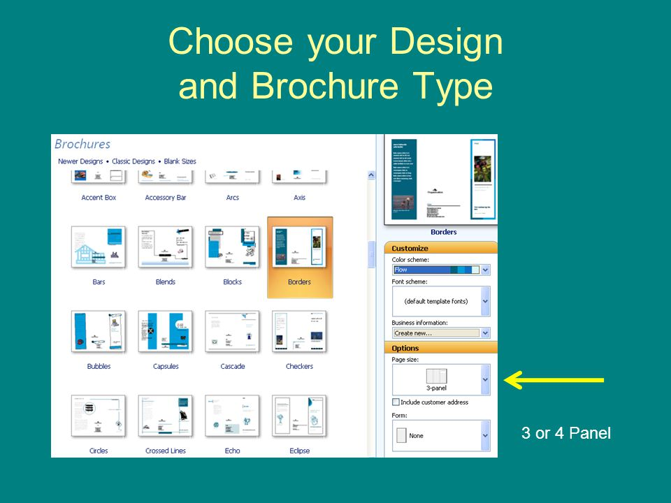 Choose your Design and Brochure Type