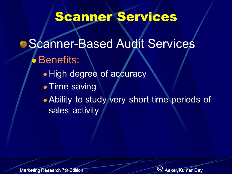 Scanner Services Scanner-Based Audit Services Benefits: