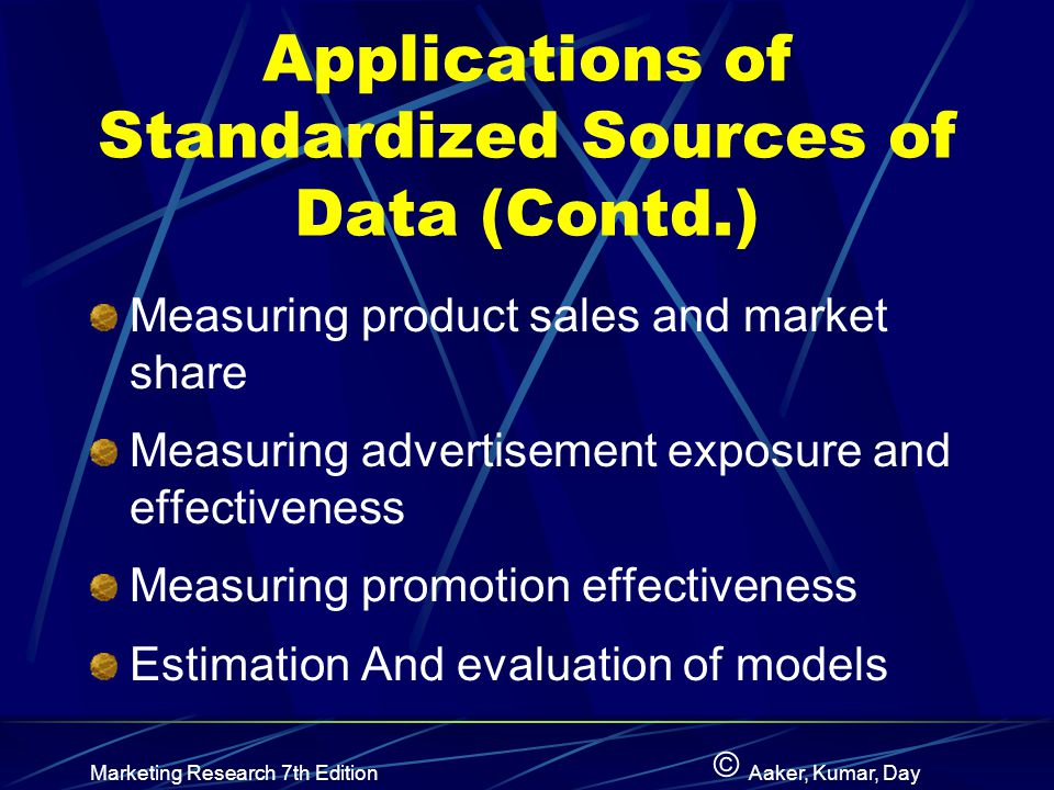Applications of Standardized Sources of Data (Contd.)