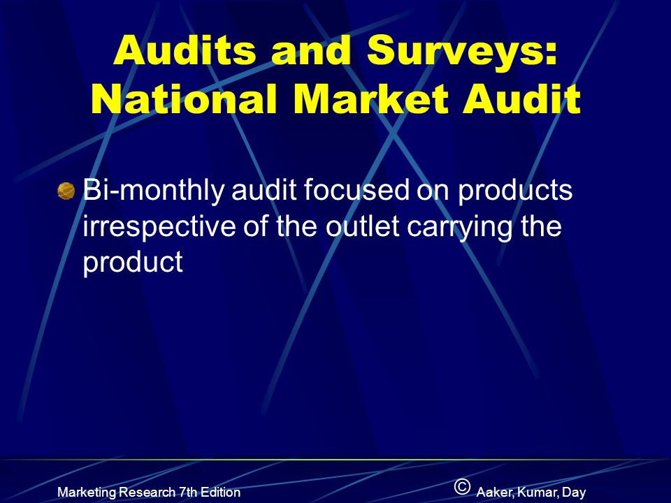 Audits and Surveys: National Market Audit