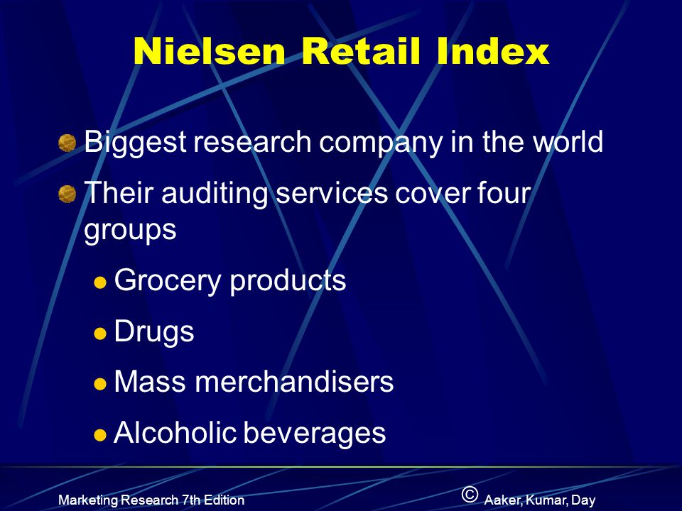 Nielsen Retail Index Biggest research company in the world