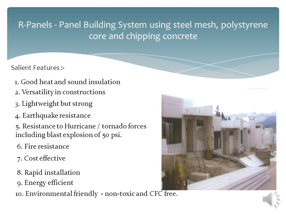 R-Panels - Panel Building System using steel mesh, polystyrene core and chipping concrete