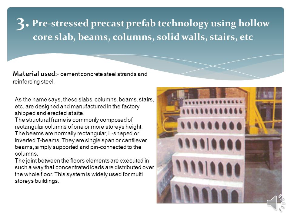 3. Pre-stressed precast prefab technology using hollow core slab, beams, columns, solid walls, stairs, etc