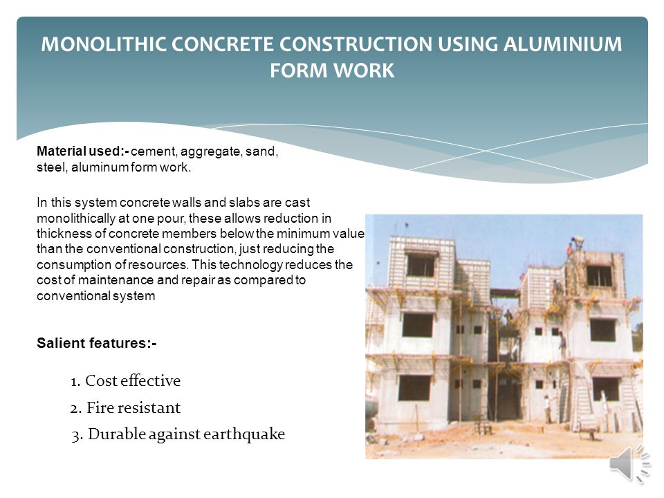 MONOLITHIC CONCRETE CONSTRUCTION USING ALUMINIUM FORM WORK