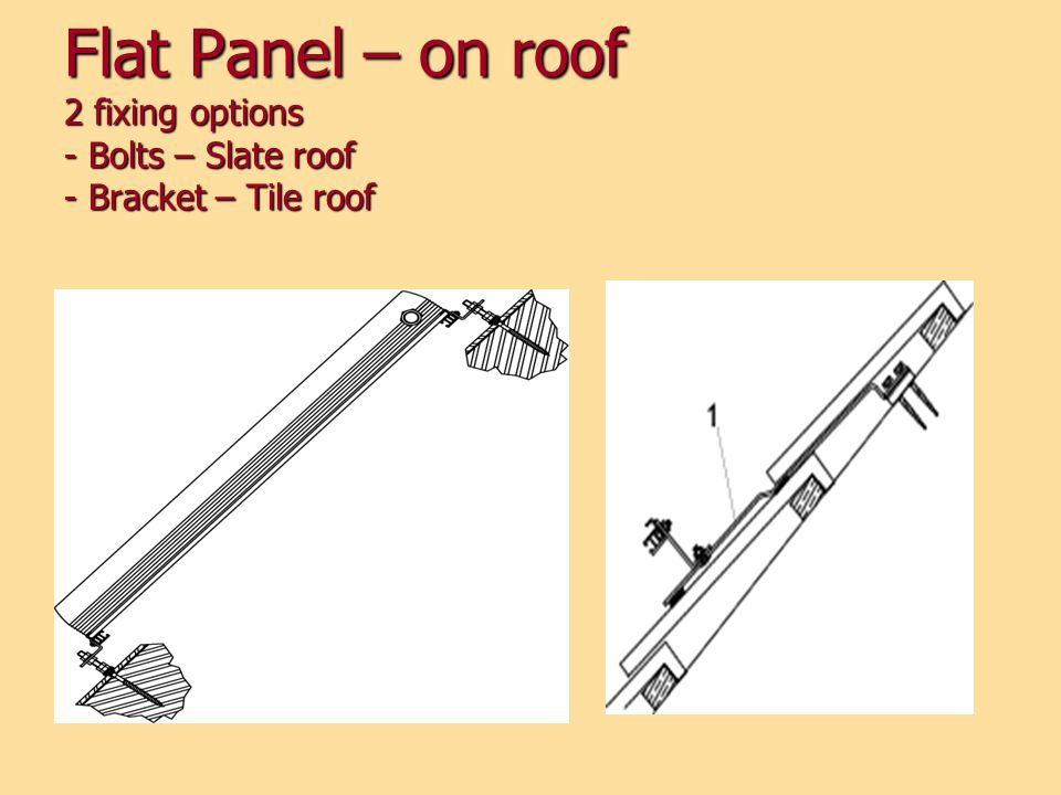 Flat Panel – on roof 2 fixing options - Bolts – Slate roof - Bracket – Tile roof