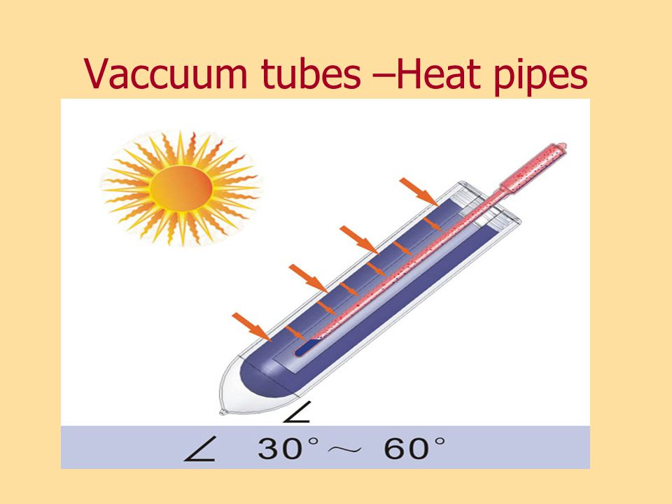 Vaccuum tubes –Heat pipes