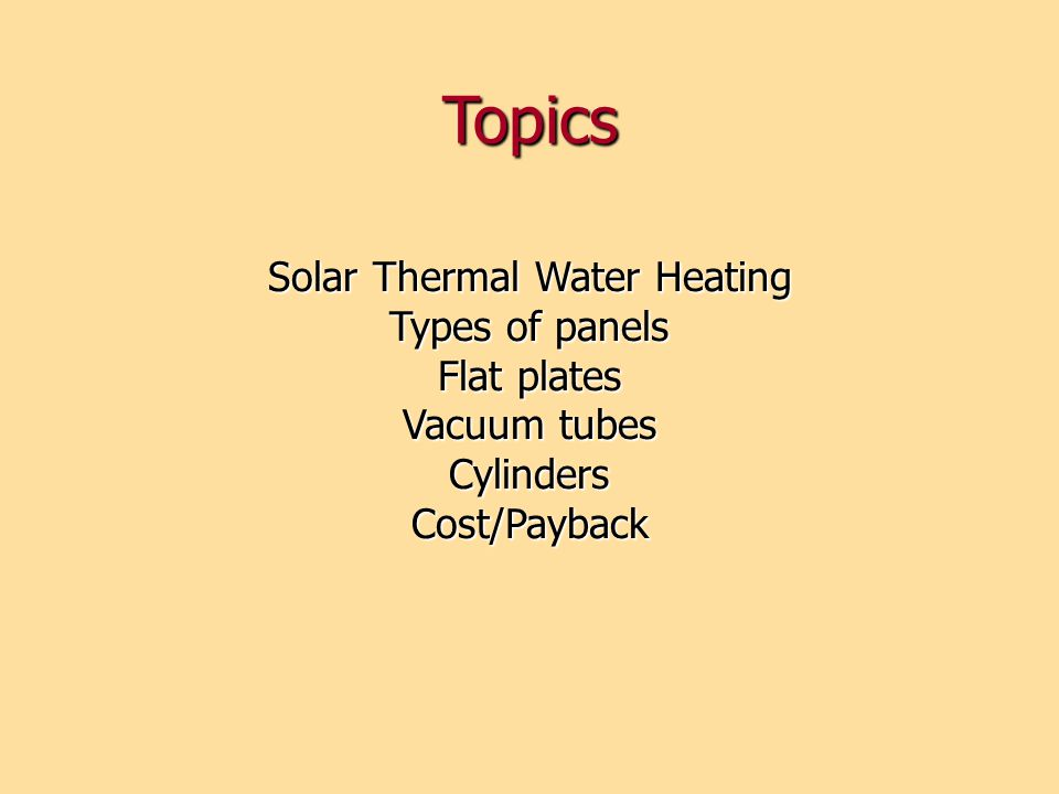 Solar Thermal Water Heating