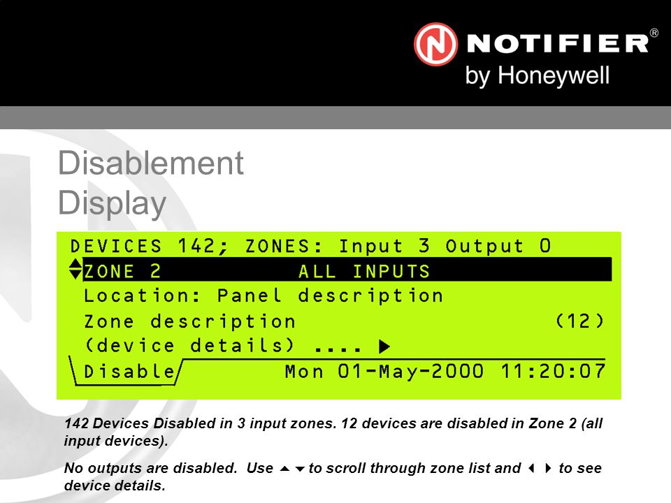 Disablement Display 142 Devices Disabled in 3 input zones. 12 devices are disabled in Zone 2 (all input devices).