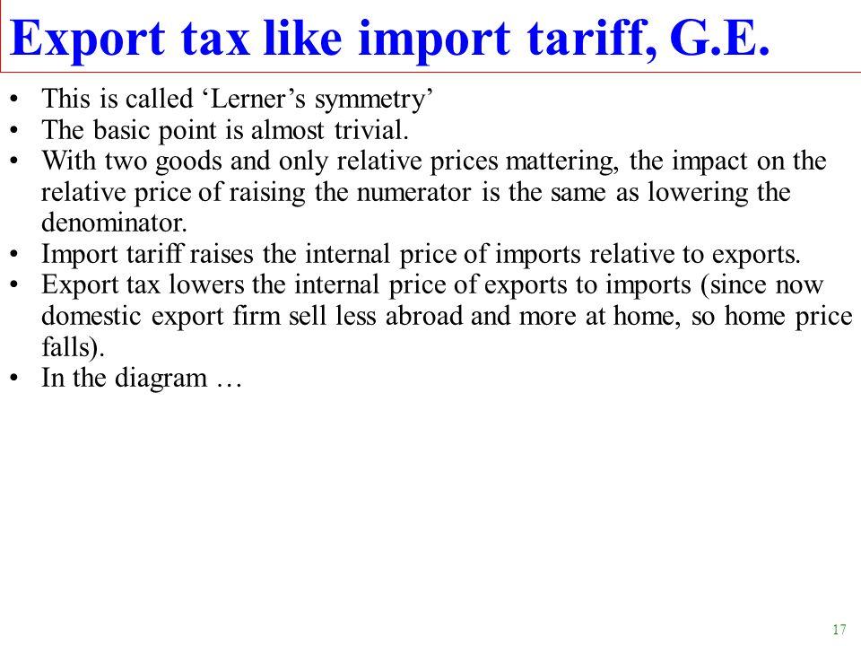 Export tax like import tariff, G.E.