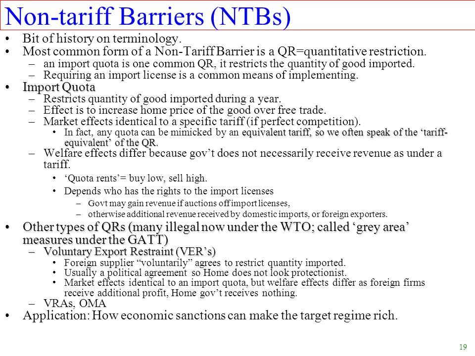 Non-tariff Barriers (NTBs)