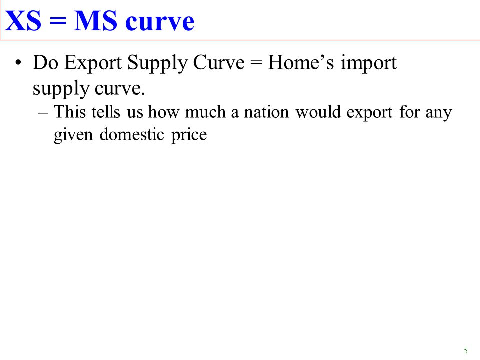 XS = MS curve Do Export Supply Curve = Home's import supply curve.