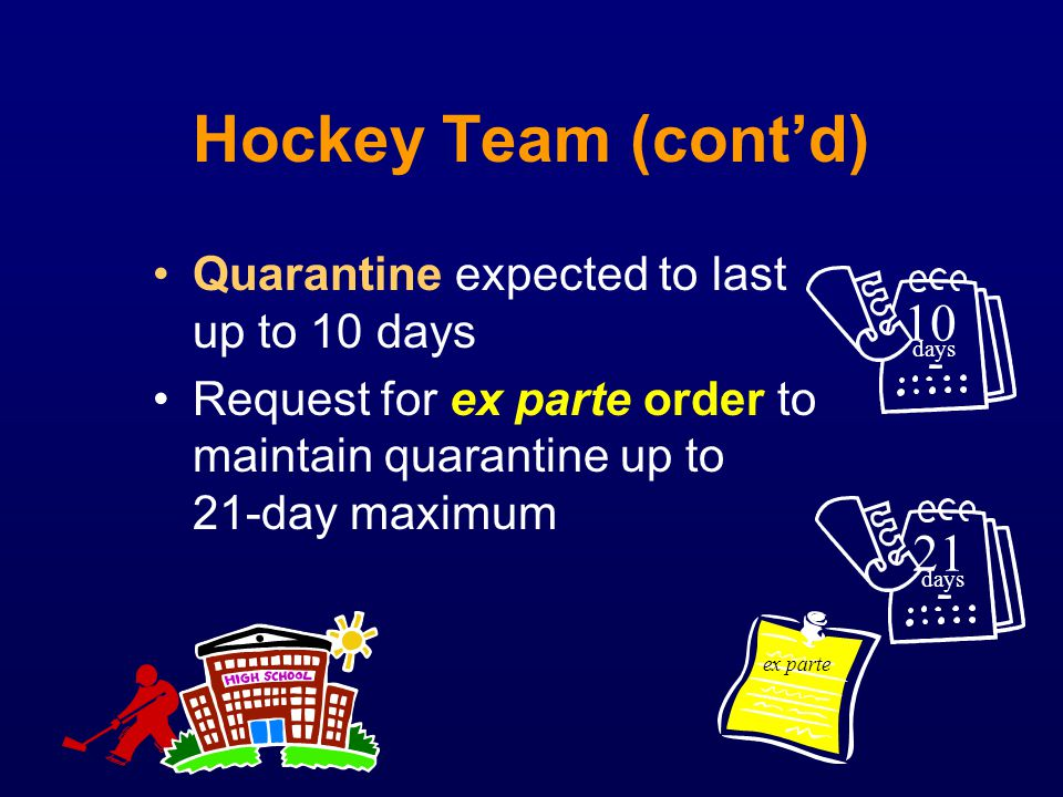 Hockey Team (cont'd) 10 21 Quarantine expected to last up to 10 days