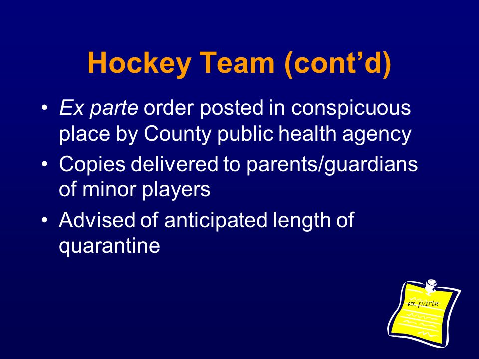 Hockey Team (cont'd) Ex parte order posted in conspicuous place by County public health agency.