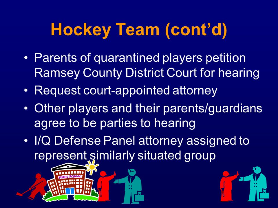Hockey Team (cont'd) Parents of quarantined players petition Ramsey County District Court for hearing.