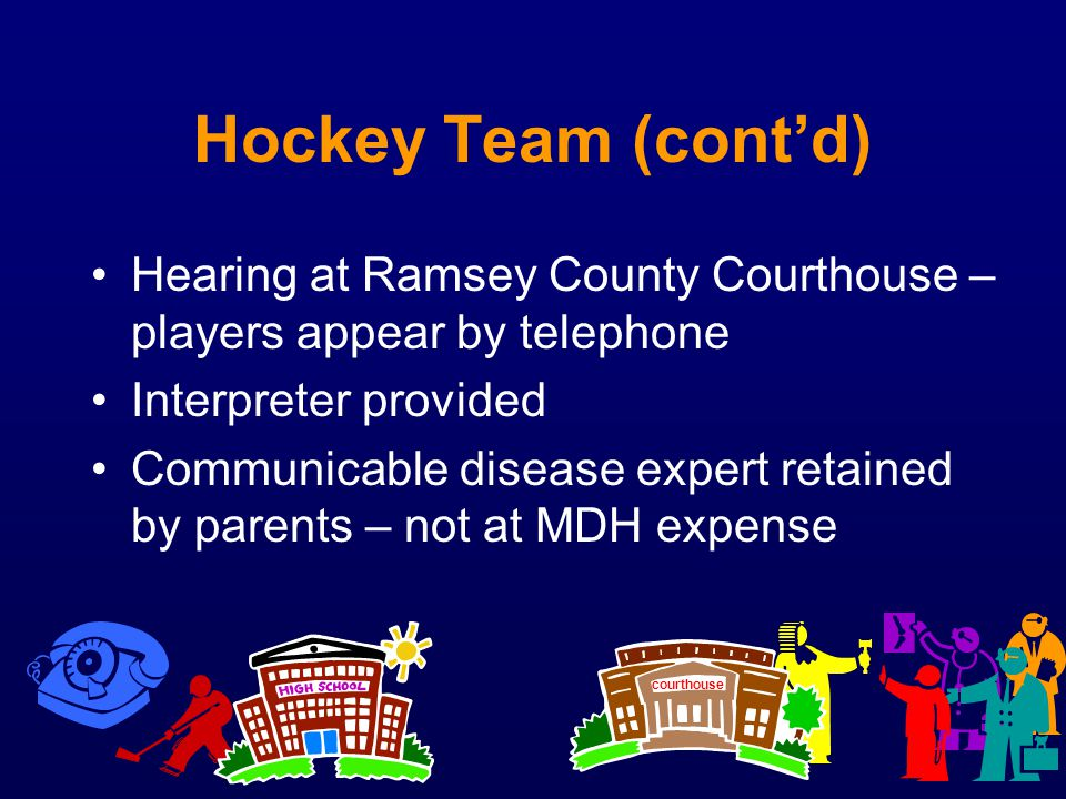 Hockey Team (cont'd) Hearing at Ramsey County Courthouse – players appear by telephone. Interpreter provided.