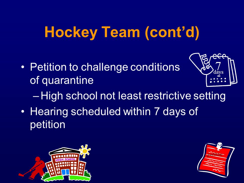 Hockey Team (cont'd) 7 Petition to challenge conditions of quarantine