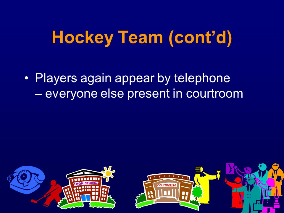 Hockey Team (cont'd) Players again appear by telephone – everyone else present in courtroom.