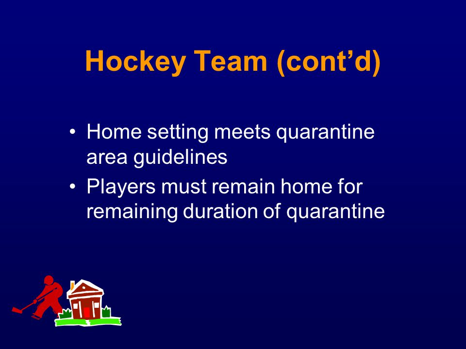 Hockey Team (cont'd) Home setting meets quarantine area guidelines