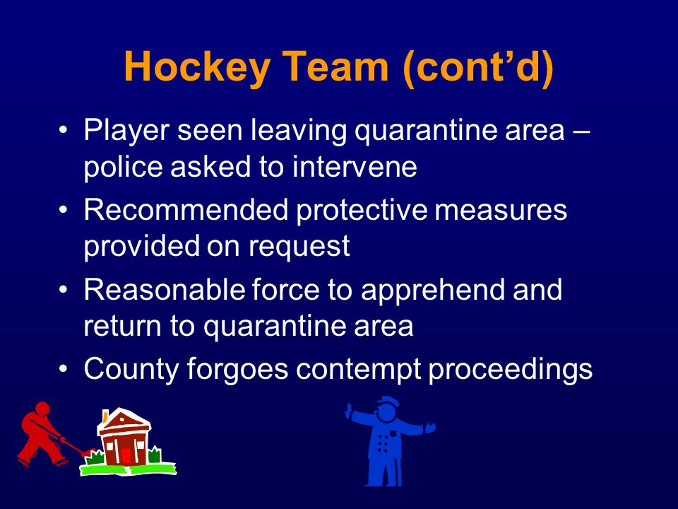 Hockey Team (cont'd) Player seen leaving quarantine area – police asked to intervene. Recommended protective measures provided on request.