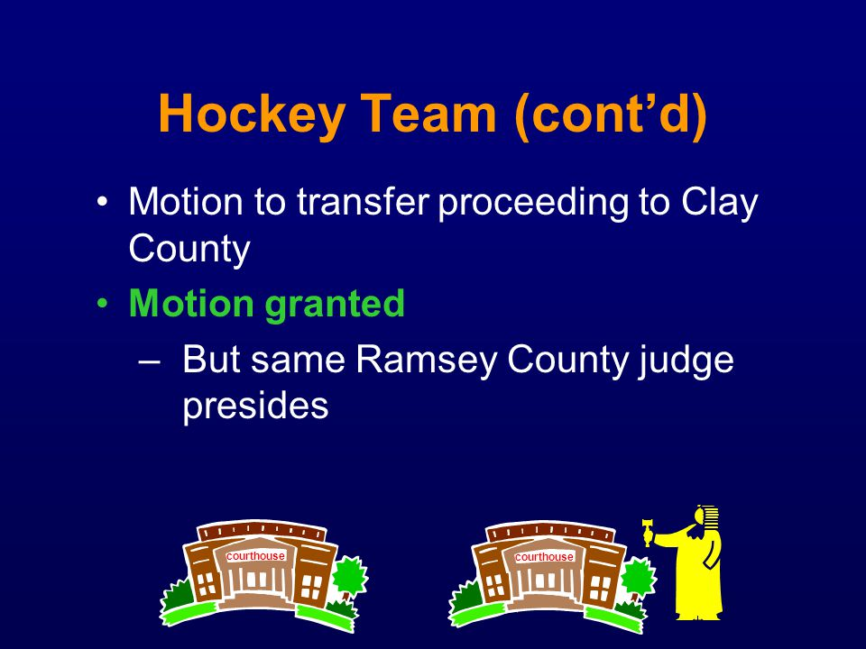 Hockey Team (cont'd) Motion to transfer proceeding to Clay County