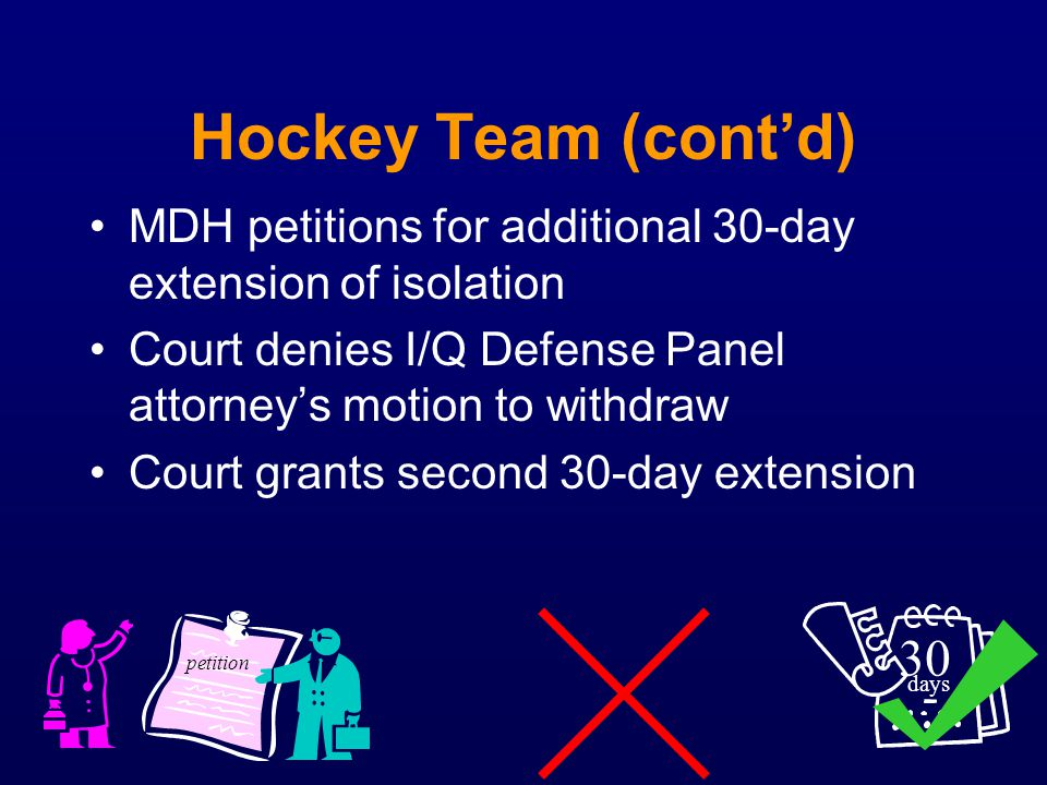 Hockey Team (cont'd) MDH petitions for additional 30-day extension of isolation. Court denies I/Q Defense Panel attorney's motion to withdraw.