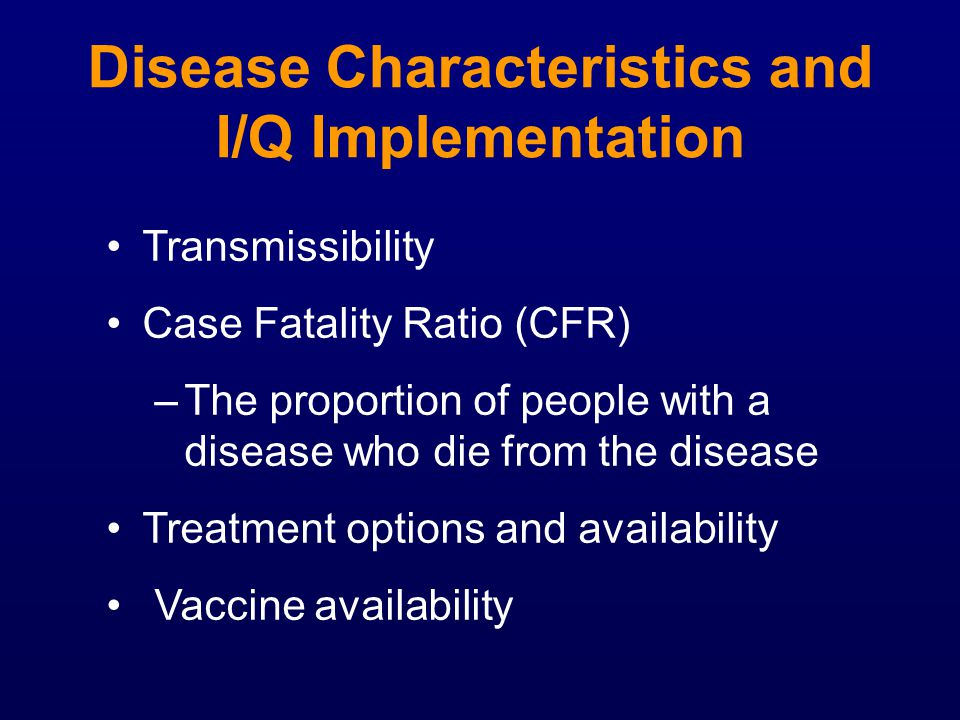 Disease Characteristics and I/Q Implementation