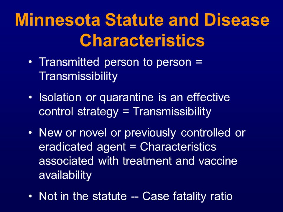 Minnesota Statute and Disease Characteristics