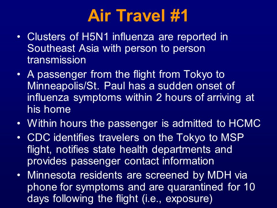 Air Travel #1 Clusters of H5N1 influenza are reported in Southeast Asia with person to person transmission.