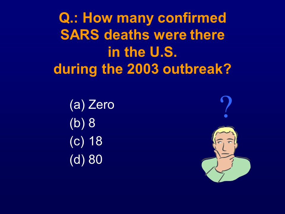 Q. : How many confirmed SARS deaths were there in the U. S