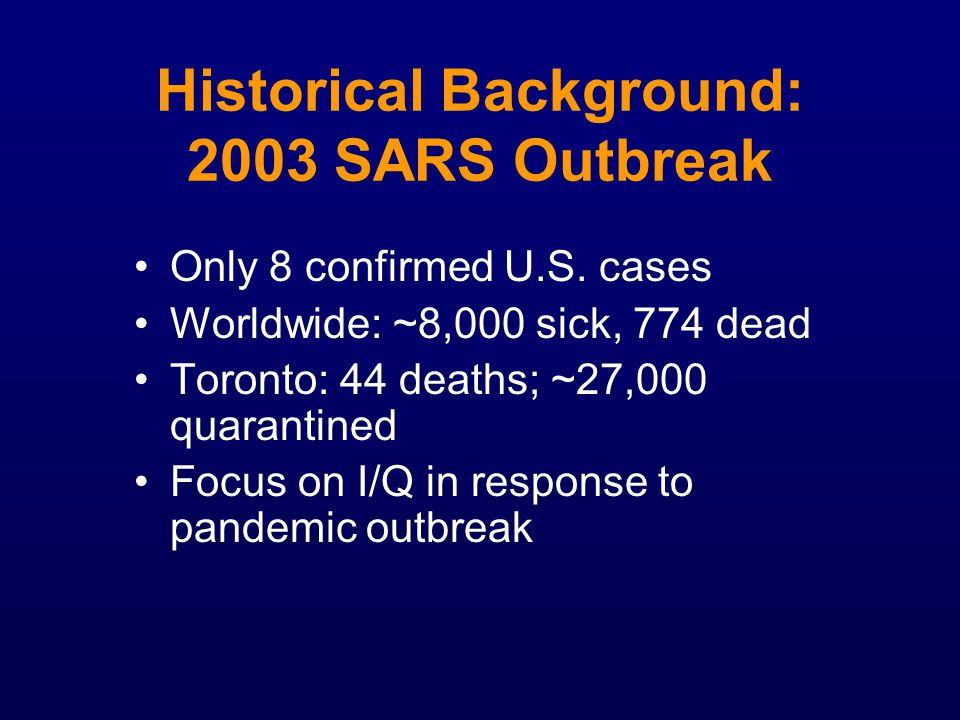 Historical Background: 2003 SARS Outbreak