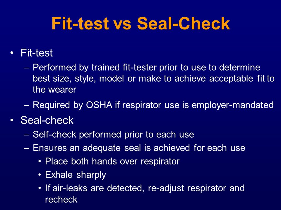 Fit-test vs Seal-Check