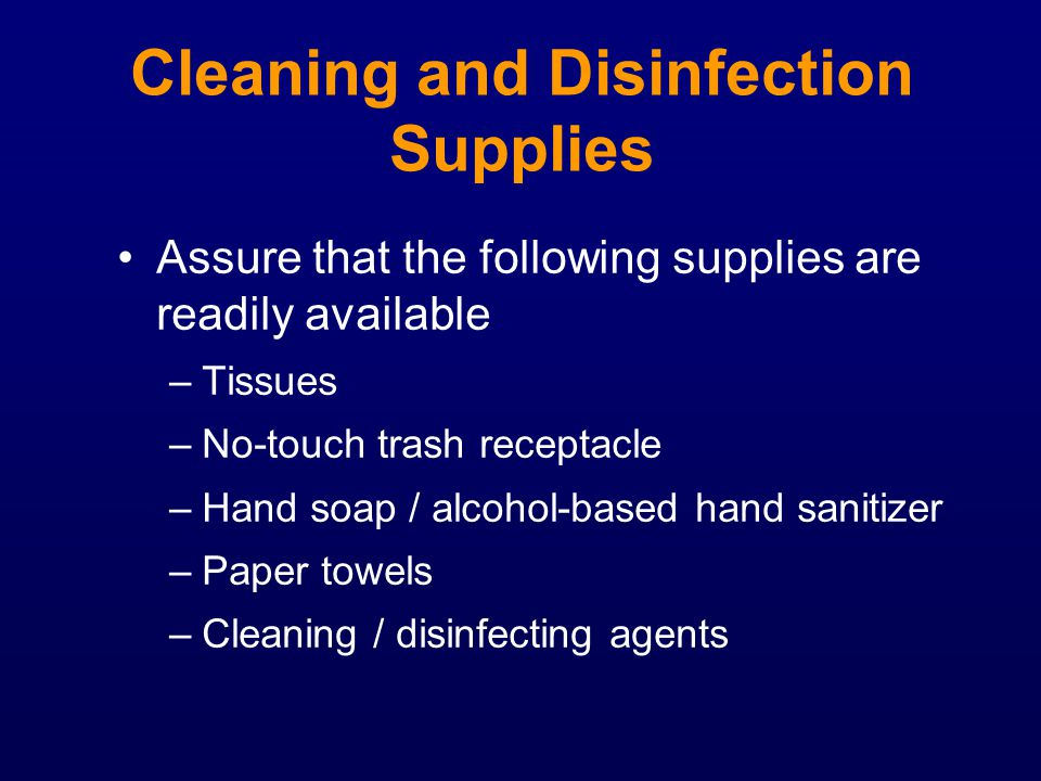 Cleaning and Disinfection Supplies