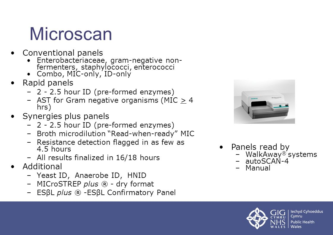 Microscan Conventional panels Rapid panels Synergies plus panels
