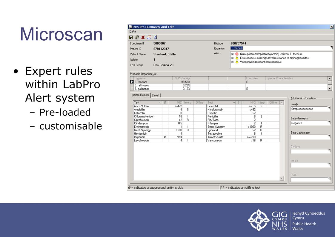 Microscan Expert rules within LabPro Alert system Pre-loaded