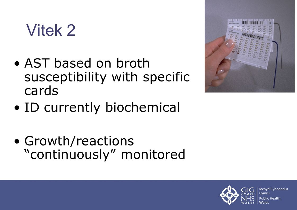 Vitek 2 AST based on broth susceptibility with specific cards
