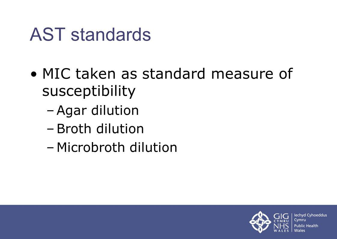 AST standards MIC taken as standard measure of susceptibility