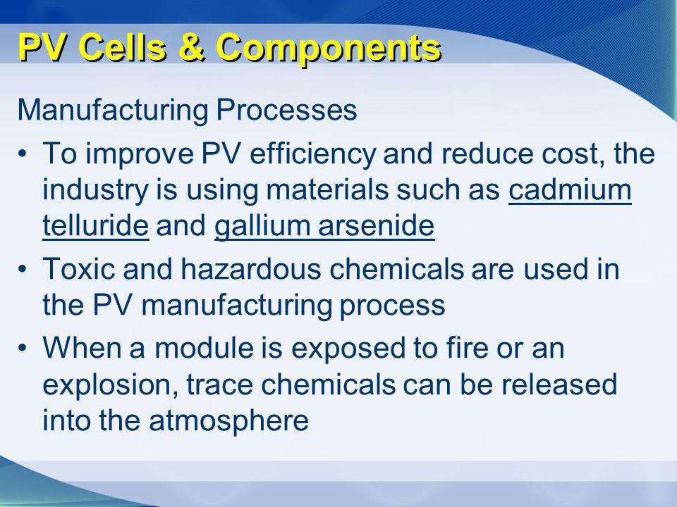 PV Cells & Components Manufacturing Processes