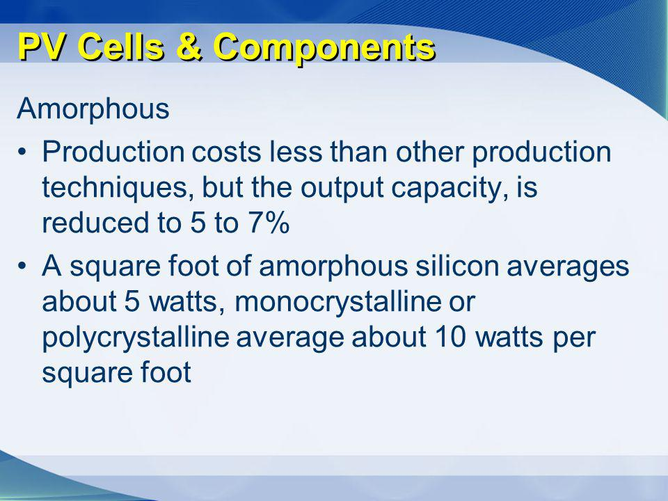 PV Cells & Components Amorphous
