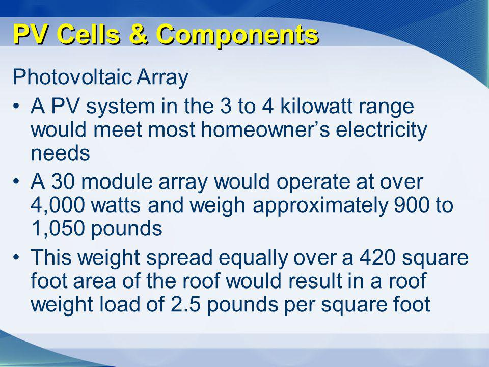PV Cells & Components Photovoltaic Array