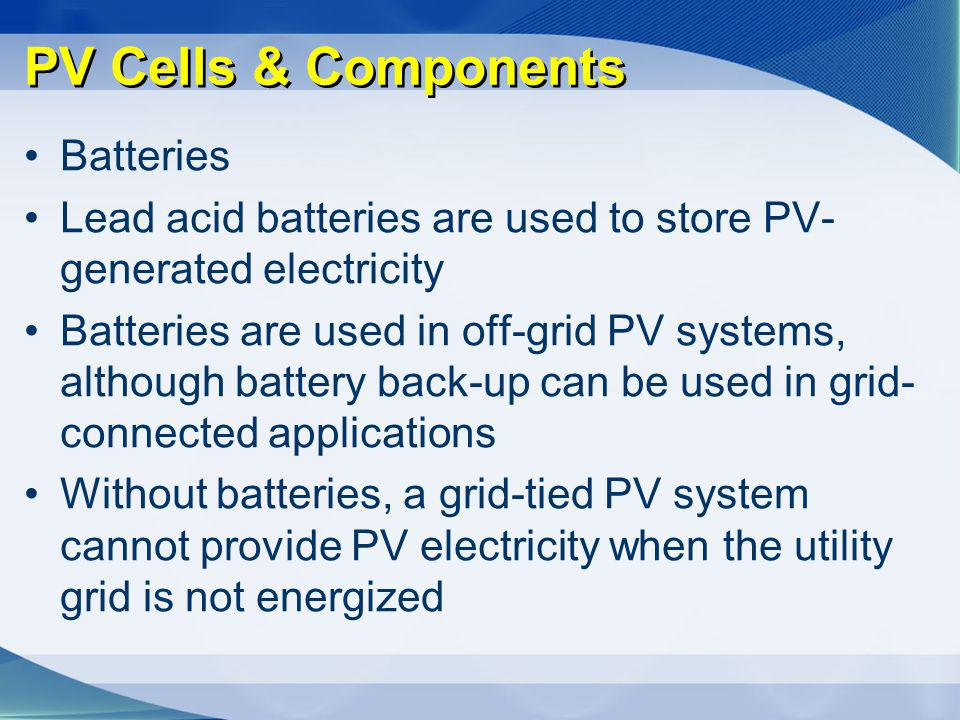 PV Cells & Components Batteries