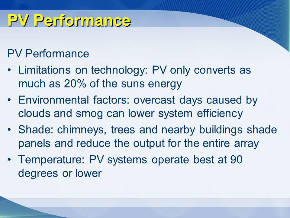 PV Performance PV Performance