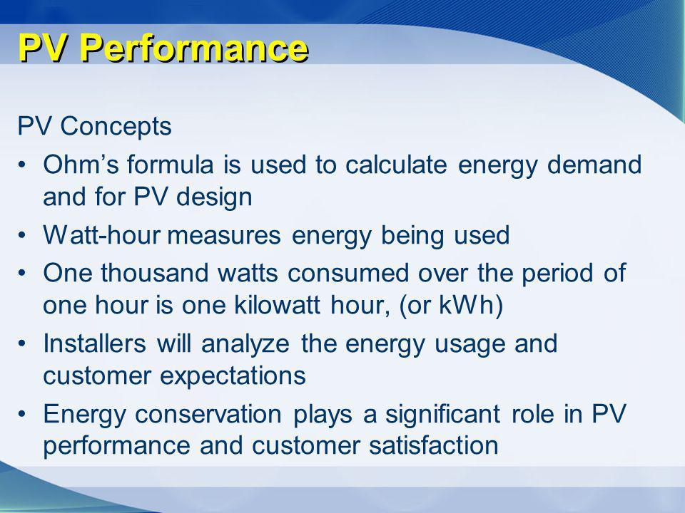PV Performance PV Concepts