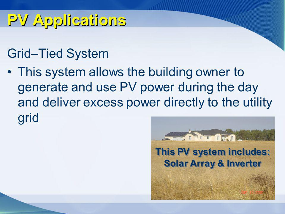 This PV system includes: