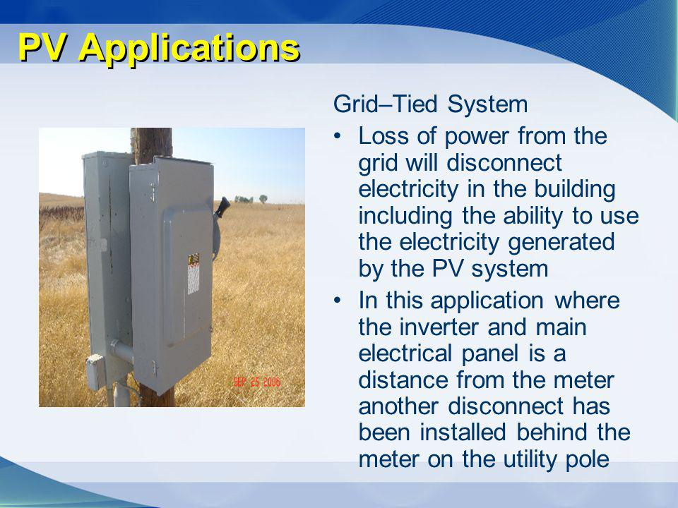 PV Applications Grid–Tied System